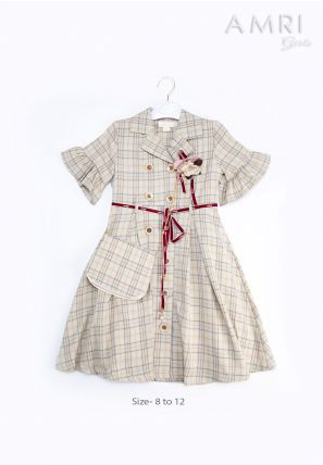 Checked Dress With Flower Patch