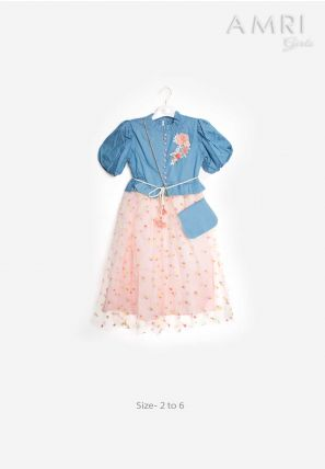 Denim Yoke Tulle Dress