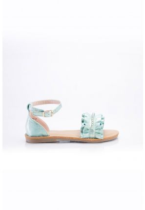 Pearly studs elevated in between ruffle top strap flat sandals