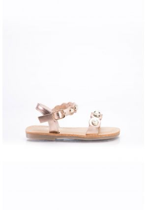 Pearl embellished flat sandal with an open toe