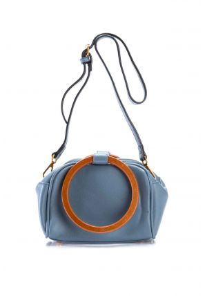 Leather Shoulder Bag With Wooden Ring