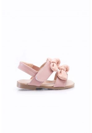 A pair of sandals secured with Velcro closure has dual strap with bow detail