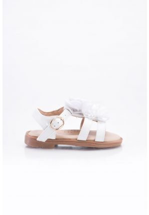 A pair of sandals secured with Velcro closure, has bow floral details