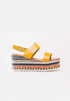 Colorful Hemp Rope Woven Espadrille Wedges