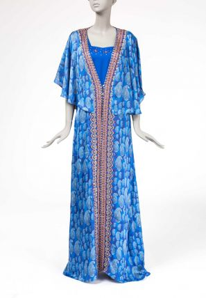Printed Kaftan With Attached Cape