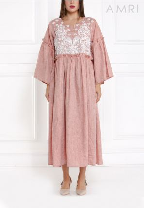 Embroidered Frilled Dress
