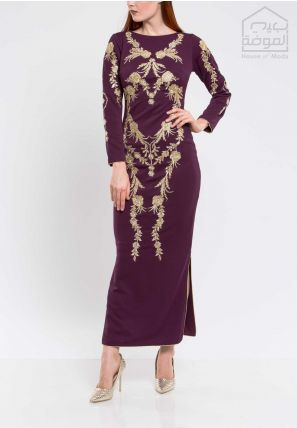 Embroidered Bardot Dress