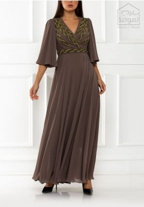 Embroidered Wrap-Over Long Dress
