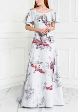 Floral Printed Cape Long Dress