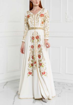 Flared Gown With Embroidery