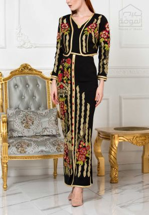 Floral Embroidered Body Con Dress With Embroidered Jacket