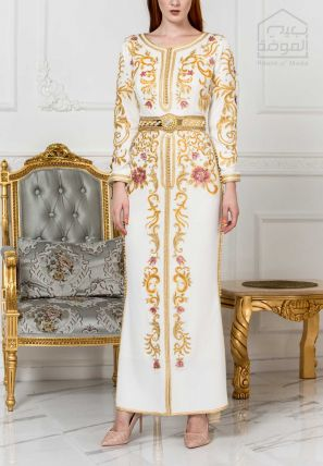Embroidered Bardot Dress With Side Slit And Golden Belt