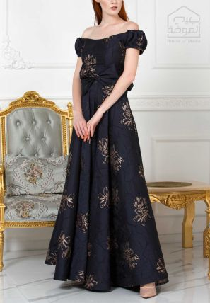Jacquard Off Shouldered Princess Gown