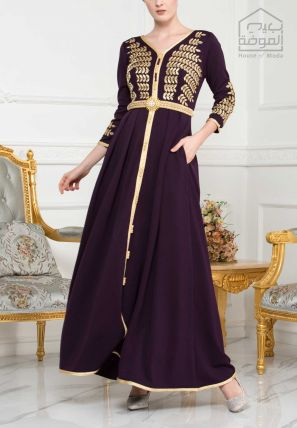 Embroidered Long Dress With Morocco Lace