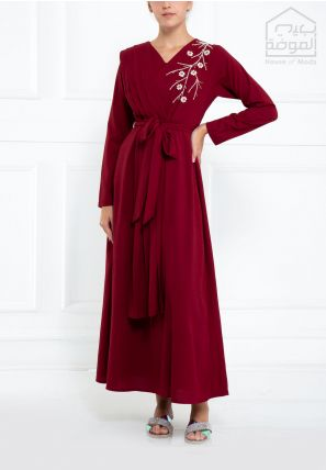 Embroidered Wrap-Over Jalabiya