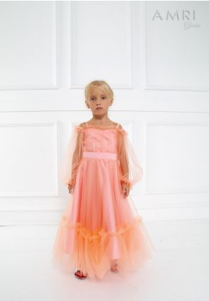 Off-Shouldered Frill Tulle Dress