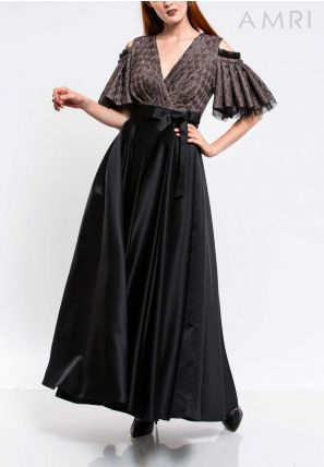 Wrap-Over Flared Gown