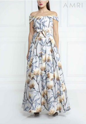 Printed Off Shoulder Gown