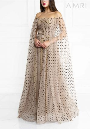 Off Shoulder Cape Ball Gown