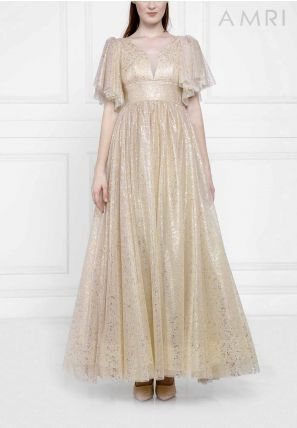 Glitter Tulle Flared Gown