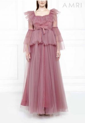 Frilled Tulle Gown