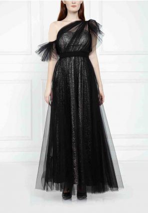 Asymmetrical Tulle Gown