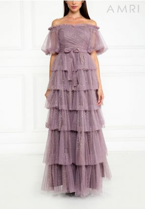 Off Shoulder Layered Gown