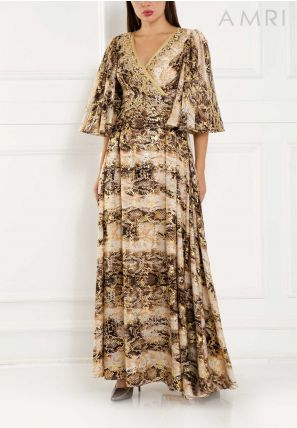 Embroidered Printed Long Dress