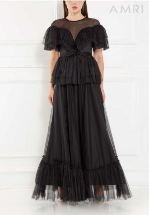 Frilled Tulle Long Dress