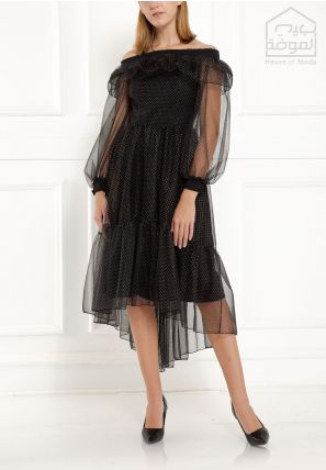 Off-Shoulder Frilled Dress