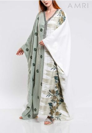 Emboss Detailed Embroidery Caftan