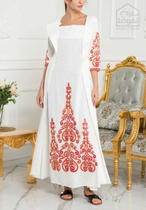 Embroidered Dress With Attached Coat