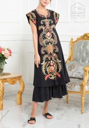 Embroidered Double Layer Sheath Dress