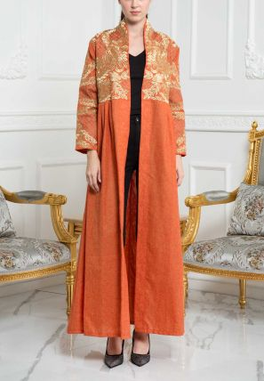 High Collared Embroidered Open Bisht