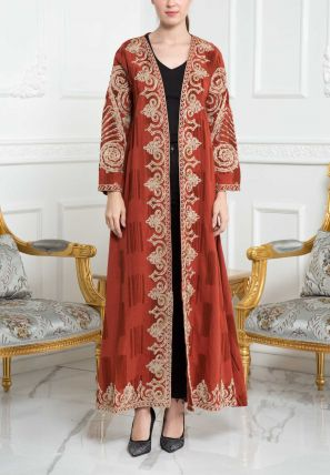 Embroidered Open Bisht