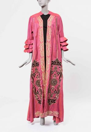 Contrast Embroidered Open Bisht