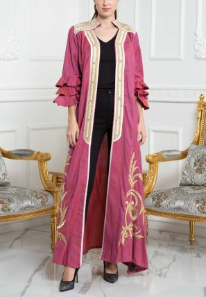 Embroidered Bisht With Lace