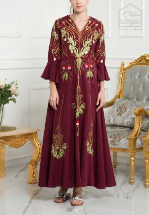 Embroidered Flared Long Dress with Frilled Sleeves