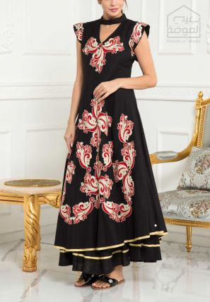 Embroidered Layered Flared Dress