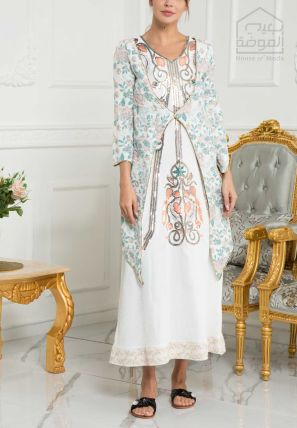 Embroidered Maxi Dress With Printed Coat