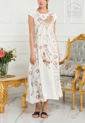 Printed Sheath Dress With Embellishments