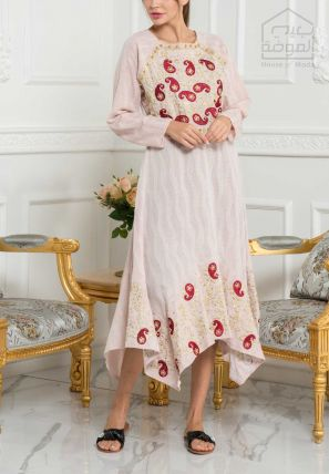 Embroidered Handkerchief Hem Maxi dress