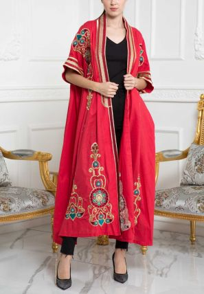 Embroidered Flared Open bisht