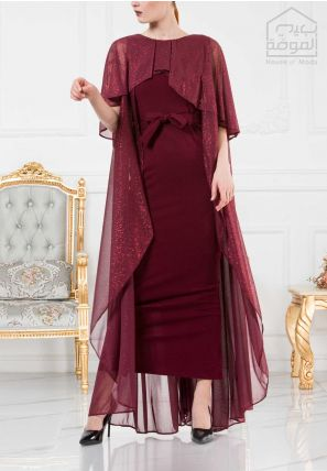Long Cape Bardot Dress