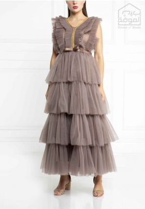 Layered Tulle Long Dress