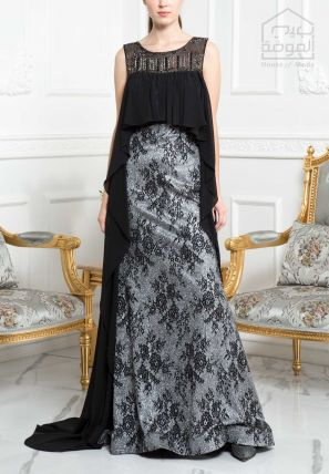 Jacquard Long Dress With Attached Long Cape