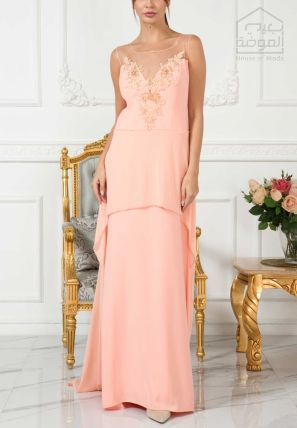 Embellished Layered Long Dress