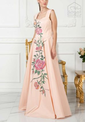 Floral Printed Flared long Gown With Embellishment