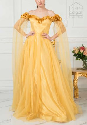 Off Shoulder Embellished Ball Gown