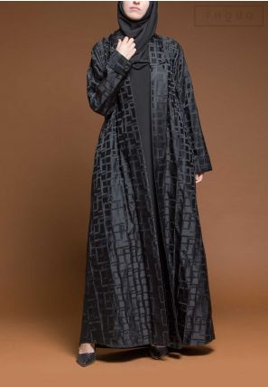 Embroidery  Textured Open Abaya